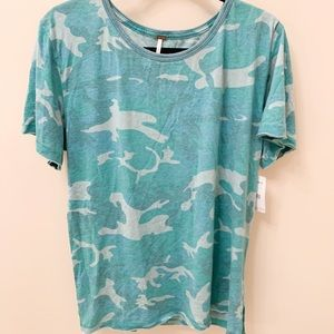 Free People Green Camo T-shirt, size Large NWT